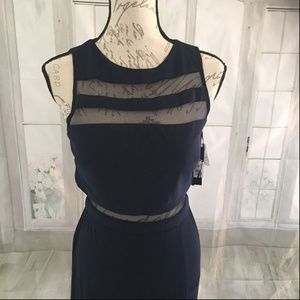 NW Nightway Mesh Evening Gown 8P NWT Navy Petite